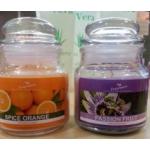 Velas envase cristal: Naranja, limón, Fruta de la pasión, Canela, Frutas del bosque